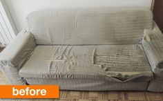 Before & After: An Unbelievable (& Adorable) Sofa Save Complete (and I mean COMPLETE!) sofa redo, on the link! Note: REMOVABLE cover so you can wash it!