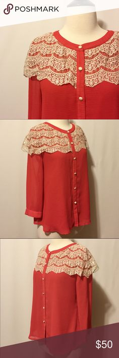 """✨ Mina UK Red & Cream Lace Blouse NWOT Modern romance! Red fully lined button front blouse with cream lace 'cape'. 100% Poly Dry Clean Only 40"""" chest 24"""" overall length MinaUK Tops Blouses"""