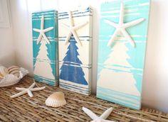 Nautical Starfish Christmas Tree Set - Sea Blues - Coastal Holiday Decor
