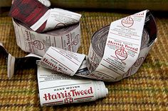 Harris Tweed trademark - this consists of the orb and the Maltese Cross with the words Harris Tweed underneath. In addition to this there and the Maltese Cross with the words Harris Tweed underneath. Various locations are signify where the fabric was actually made.