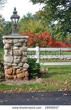 stone driveway columns   Stone Pillar At Private Entrance Stock Photo 18950947 : Shutterstock