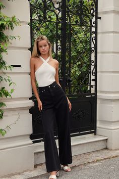Levi's High Loose Jeans | Free People Loose Jeans Outfit, Stretch Denim Fabric, High Rise Jeans, Jean Outfits, Black Denim, Flare Jeans, Free People, Style Inspiration, My Style