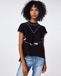 Solid Silk Blend Piped Ruffle Top – NicoleMiller.com Ruffle Top, Ruffles, High Hips, Nicole Miller, Feminine, T Shirts For Women, Silk, Womens Fashion, Model