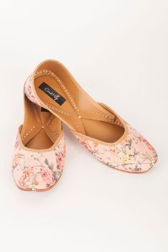 Pink Vintage Drama Jutti By Coral Haze  Shop Now at http://www.onceuponatrunk.com/designers/coral-haze #onceuponatrunk #shopnow #jutti #fashion #style #india #onlineshopping #shopping #footwear #ethnic #accessories #delhi