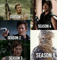 Daryl Dixon over the seasons…Getting to be like a scruffy nerf herder's side kick.