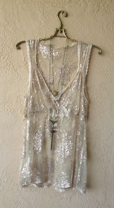 Kimch & BLUE Romantic Gold gypsy sheer mesh tunic with metallic lace design