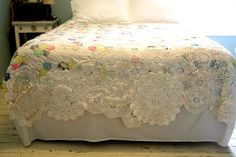 rescue those old quilts & doilies by combining them.   from Confessions of a Junque Junkie