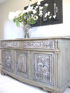 Distressed antique sideboard.