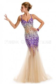 Haltered Embellished Gown by PARTY TIME 6036. his elegant creation has spaghetti strap with deep V neckline. This mermaid dress is made of sheer soft tulle fabric with crystal beaded bodice making it the perfect pick for your big night.