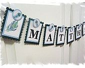 Personalized Name Banner - Baby Shower Peacock Theme - MADE TO ORDER