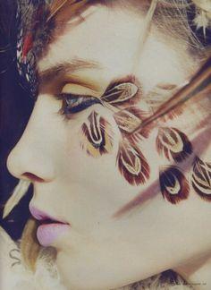 Make Up - bohemian feather makeup look Halloween Make Up, Halloween Face Makeup, Make Up Art, How To Make, Beauty Makeup, Eye Makeup, Weird Makeup, Runway Makeup, Wild Spirit