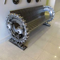 Garage art, now that's what I can upcycling. Car Part Furniture, Automotive Furniture, Automotive Decor, Metal Furniture, Unique Furniture, Furniture Ideas, Handmade Furniture, Industrial Design Furniture, Modern Industrial