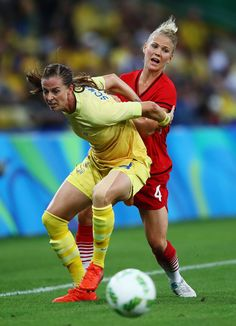 Lotta Schelin of Sweden and Leonie Maier of Germany challenge for the ball during the Women's Olympic Gold Medal match between Sweden and Germany at Maracana Stadium on August 19, 2016 in Rio de Janeiro, Brazil.