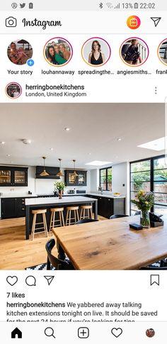 Kitchen. Black cabinets Kitchen Set Up, Open Plan Kitchen Living Room, Kitchen Black, Kitchen Decor, Kitchen Layout, Kitchen Design, Living Rooms, House Rooms, Farmhouse Remodel
