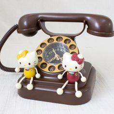 ハローキティ 電話型クロック キティ&ミミィ