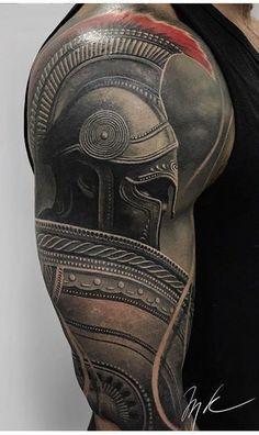 Tatuaje de guerrero espartano - Tattoo ideen -You can find Warrior tattoos and more on our website. Warrior Tattoos, Badass Tattoos, Viking Tattoos, Body Art Tattoos, Tribal Tattoos, Norse Tattoo, 3d Tattoos, Tattos, Gladiator Tattoo