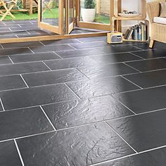 Wickes Riga Black Matt Slate Effect Porcelain Floor Tile 300x600mm For The Home