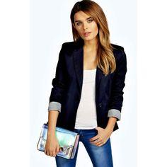 Boohoo Jade Colour Block Blazer ($32) ❤ liked on Polyvore featuring outerwear, jackets, blazers, navy, letterman jackets, hooded denim jacket, moto jacket, motorcycle jacket and navy bomber jacket