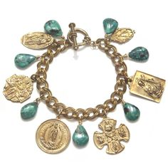Vintage Chain Bracelet with Green Turquoise and 6 Red Bronze Medals - Artisan Design Gallery