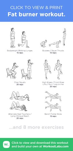 Fat burner workout. –click to view and print this illustrated exercise plan created with #WorkoutLabsFit