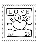 Love postage stamp coloring sheets and activity page