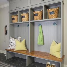 Gray Mudroom Lockers with Beadboard Trim