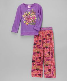 Look at this #zulilyfind! Lavender 'Be Who You Are' Pajama Set - Girls #zulilyfinds