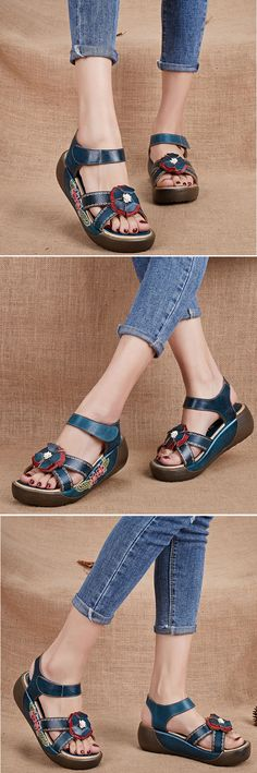 US$50.00 SOCOFY Candy Color Hook Loop Leather Retro Platform Sandals