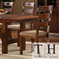 TRIBECCA HOME Swindon Rustic Oak Classic Dining Chair (Set of 2) | Overstock.com