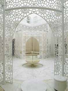 Moroccan geometric tastir patterns. Lacy & beautiful in the spa of this Marrakesh hotel.