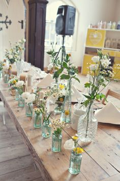love the look of wildflowers in small vases