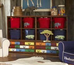 playroom - like the buckets and shelves!