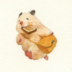 Japanese Artist Depicts The Typical Life Of His Pet Hamster - Japanese Artist And Art University Graduate Gotte Have Turned Their Creative Skills Towards A Very Cool Subject Their Light Hearted Watercolor Animal Drawings Depict A Typical Day In Their Ador Illustration Mignonne, Art Et Illustration, Cute Animal Illustration, Cute Animal Drawings, Cute Drawings, Japanese Hamster, Doodle Art, Art Mignon, Watercolor Pictures