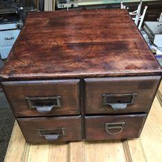 Antique 4 Drawer Wabash Cabinet Co Library File Card Catalog w/Card Separators #ArtsCraftsMissionStyle #WabashCabinetCo
