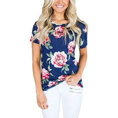 a745790b2 Stylish floral print short sleeve round neck shirt. Shop this and other  stylish shirts on