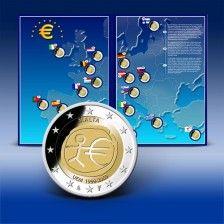 Komplett-Set 2 Euro Gedenkmünzenset  10 Jahre WWU