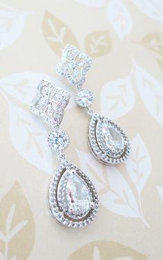 Teardrop Deluxe Cubic Zirconia Teardrop Earring - vintage halo style earrings, bridal gifts, drop, dangle, silver weddings, by GlitzAndLove, www.glitzandlove.com