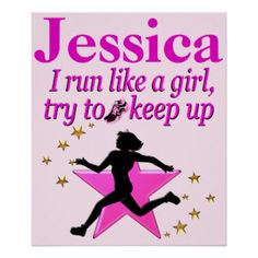 PINK RUN LIKE A CHAMP PERSONALIZED POSTER Inspire your terrific Track and Field star with our Running and Cross Country Tees and Gifts. http://www.zazzle.com/mysportsstar/gifts?cg=196451289151790577&rf=238246180177746410 #TrackandField #Runtrack #GirlsTrack #Crosscountry #RunnerGirl