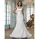 Trumpet/Mermaid Scoop Sweep/Brush Train Lace And Satin Wedding Dress