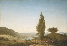 "Caspar David Friedrich:  ""The summer"" (Landscape with lovers), 1807, oil on canvas,  Dimensions: Height: 71.4 cm (28.1 in). Width: 103.6 cm (40.8 in),  Current location: Neue Pinakothek  Munich, Germany."