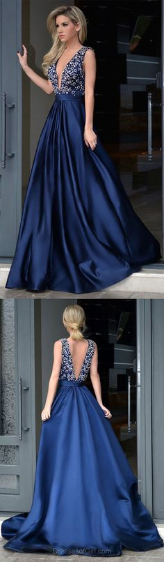 Royal Blue Formal Dresses,A-line V-neck Satin Evening Party Gowns,Sweep Train Beading Backless Amazing Prom Dresses