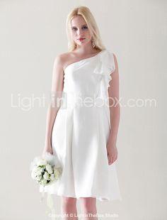 A-line One Shoulder Knee-length Chiffon Over Elastic Satin Bridesmaid Dress - USD $ 89.99