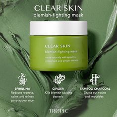 A spot-busting mask to control sebum levels and prevent breakouts. Salicylic acid and ginger extract kill blemish-causing bacteria. Green clay and spirulina draw out toxins and tighten pores. Bamboo charcoal and goji berry extract reduce redness and calm skin. Cosmetic Design, Newsletter Design, Salicylic Acid, Clear Skin, Tropical, Skin Care, Product Poster, Ginger Extract, Facebook Content