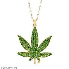 La Coqueta Jewelry Fashion Women Green Rhinestone MARIJUANA #ETSY