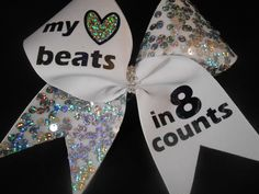 My Heart Beats in 8 Counts Cheer Bow w silver sequins and hologram heart by BlingItOnCheerBowz by BlingItOnCheerBowz on Etsy https://www.etsy.com/listing/199434937/my-heart-beats-in-8-counts-cheer-bow-w