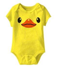 Look what I found on #zulily! Yellow Duck Face Bodysuit - Infant #zulilyfinds