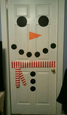 Snowman door - use wrapping paper for scarf