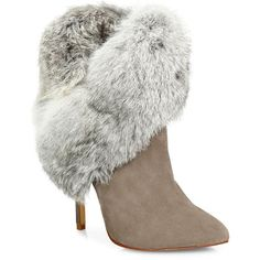 Schutz Henriette Suede & Rabbit Fur Booties ($245) ❤ liked on Polyvore featuring shoes, boots, ankle booties, apparel & accessories, mouse, suede ankle bootie, pointy-toe boots, suede ankle booties, bootie boots and ankle boots