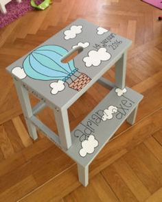 IKEA Hocker für Kinder verschönern The IKEA Bekväm stool is very popular for IKEA hacks. No wonder because a fanciful claim alone makes him a real eye-catcher in the nursery! Whether as a bench, TV st Ikea Furniture, Painted Furniture, Furniture Stores, Furniture Websites, Furniture Ideas, Ikea Hacks, Diy Hacks, Baby Zimmer Ikea, Ikea Stool