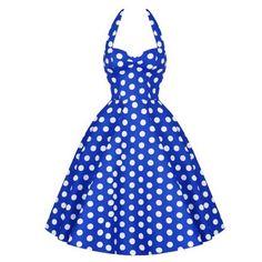 Disfraz Vestido PinUp 50s Halter Azul Lunares Blancos